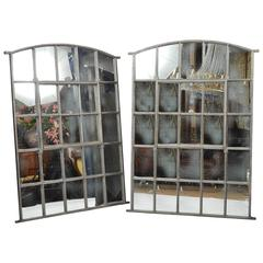Pair of Early 20th Century Iron Astragal Designed Mirrors