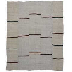 Minimalist Style Ivory Kilim Rug with Modern Stripes