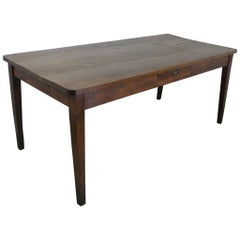 Antique French Thick Top Oak Farm Table