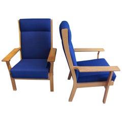 Vintage Ge 181 a Zwei Lounge Stühle von Hans Wegner für GETAMA