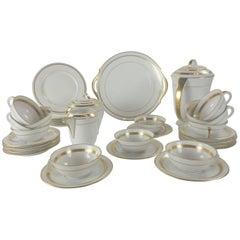 Limoges Mid-Century Modernist Gold Banded Porcelain Coffee Service