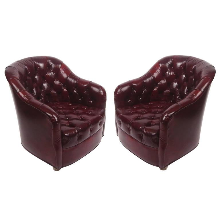 Attractive Pair Of Ward Bennett Tufted Club Chairs In Original Oxblood Leather On  Castors For Sale