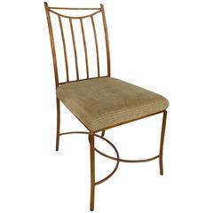 Mid-Century Gilt Iron Faux-Bois Desk Chair by Swaim