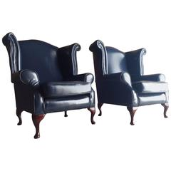 Pair of Antique Style Wing Back Armchairs Queen Anne Style Blue Leather