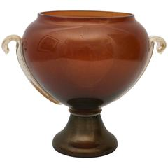 Murano Glass Vase on Truncated-Cone Base, Cognac and Gold Coloration