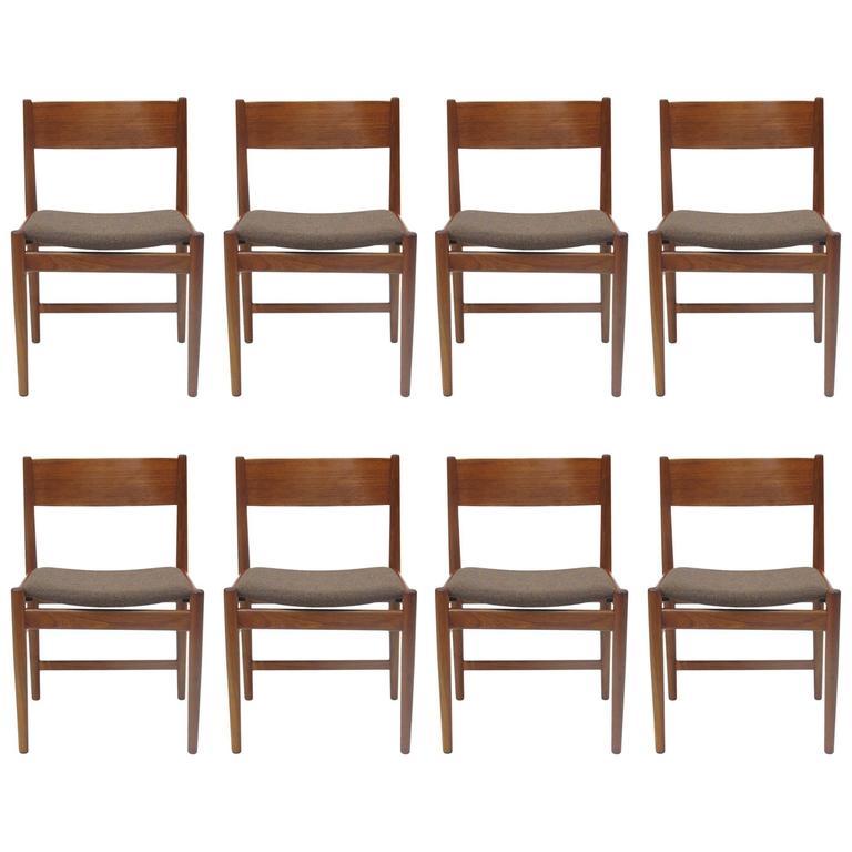 Eight Arne Vodder Danish Teak Dining Chairs