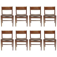 Eight Arne Vodder Danish Teak Dining Chairs