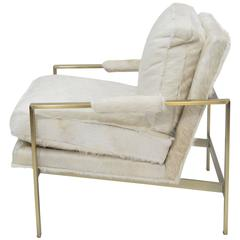 Milo Baughman for Thayer Coggin Brass Lounge Chair Hair on Hide
