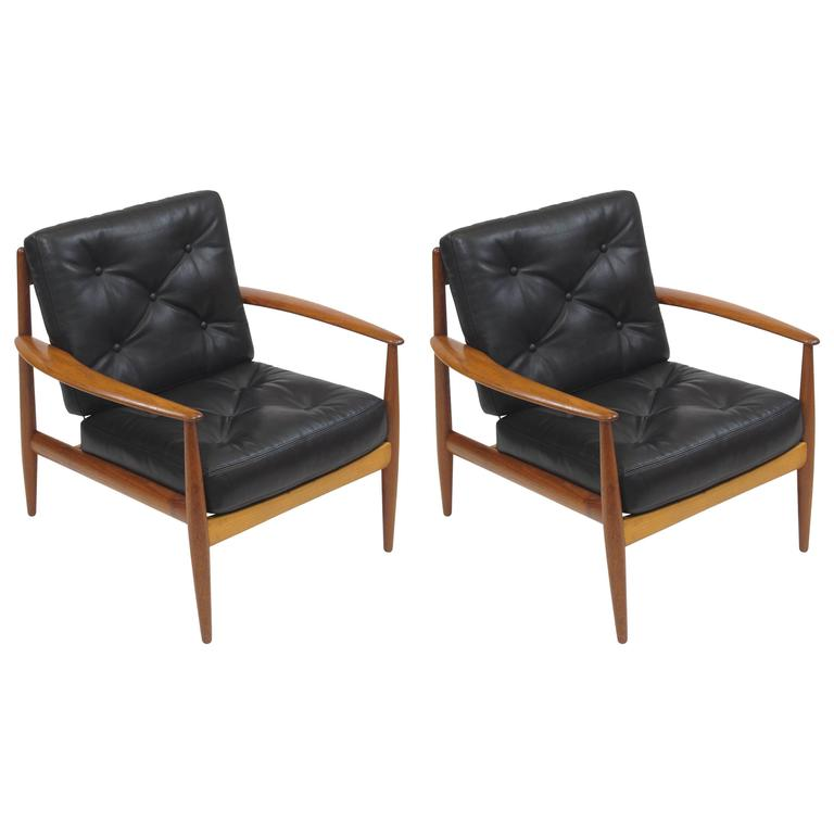 Grete Jalk Danish Teak Lounge Chairs In Black Leather For