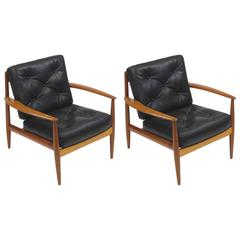 Grete Jalk Danish Teak Lounge Chairs in Black Leather