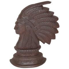 19th Century Rare Indian Chief Door Stop