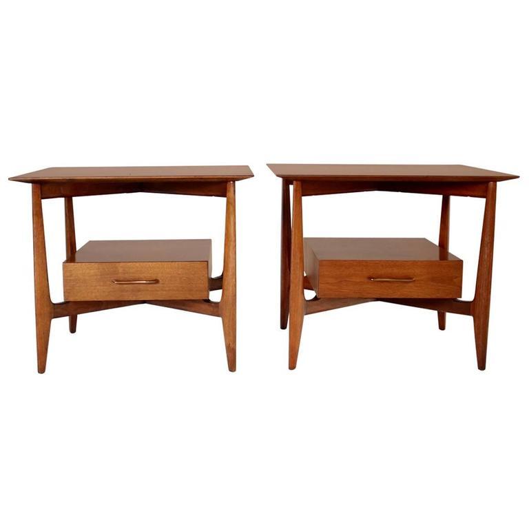 John Stuart Single Drawer End Tables Nightstands For Sale
