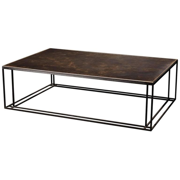 Brass binate art deco minimal metal coffee table in steel for Coffee tables 80cm wide