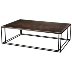 Brass Binate Art Deco Minimal Metal Coffee Table in Steel and Brass