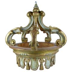 Hollywood Regency Italian Parcel Gilt & Gesso Hanging Crown, Corona Ciel De Lit