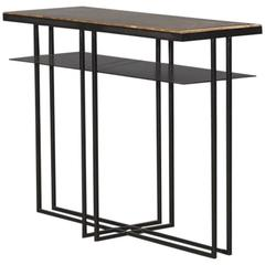 Cross Binate Art Deco Minimal Metal Side Table in Blackened Steel and Brass