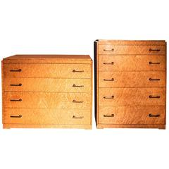 Set Of Two Art Deco Birdu0027s Eye Maple Dressers, Circa 1935