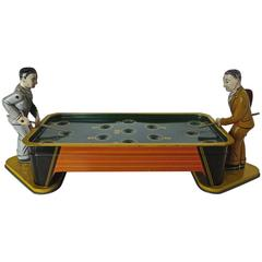 """Two Pool Players"" Tin Windup Toy, American, circa 1950"