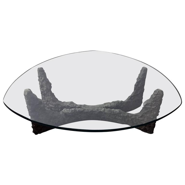 Mid-Century Bronze Brutalist Coffee Table in the Manner of Paul Evans