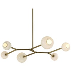Mode Brass and Blown Glass Made-to-Order Chandelier