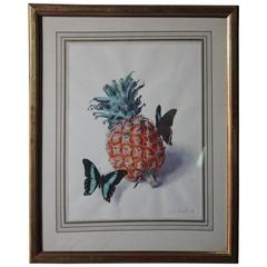 Watercolor of Pineapple and Butterflies