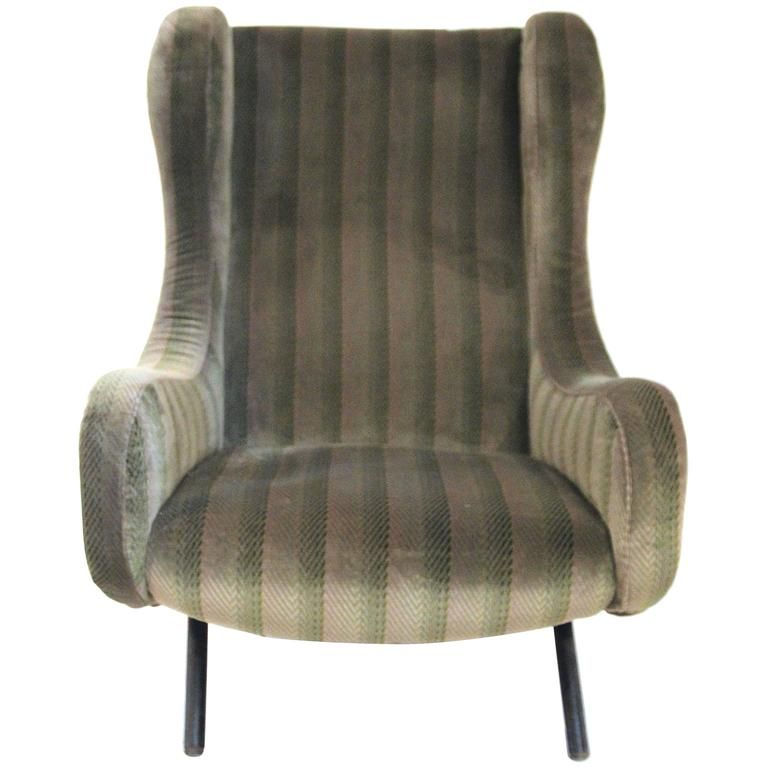 """Marco Zanuso, """"Senior"""" Armchair, Original Textile, circa 1970, Italy"""