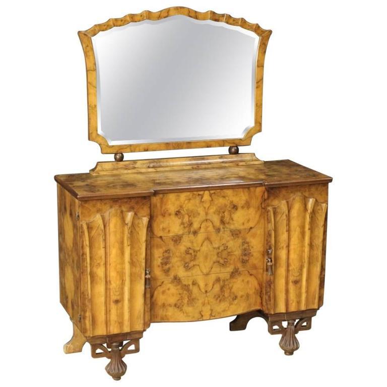 20th Century Italian Dresser with Mirror in Walnut and Burl