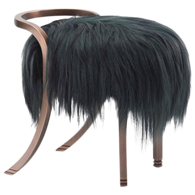 Anita Stool by Francis Sultana, Bronze and Kidassia Fur For Sale