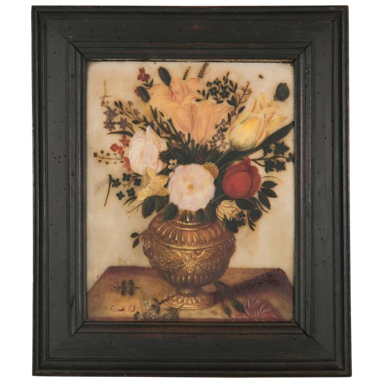 Spanish 17th Century Pretty Flowers Bouquet On A Vase Painted On