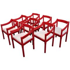 Italian Set of Eight Chairs by Vico Magistretti