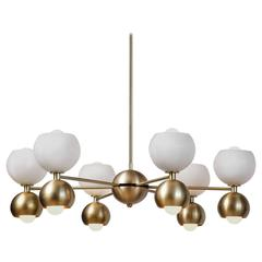 Betty Handblown Glass and Brass Midcentury Chandelier