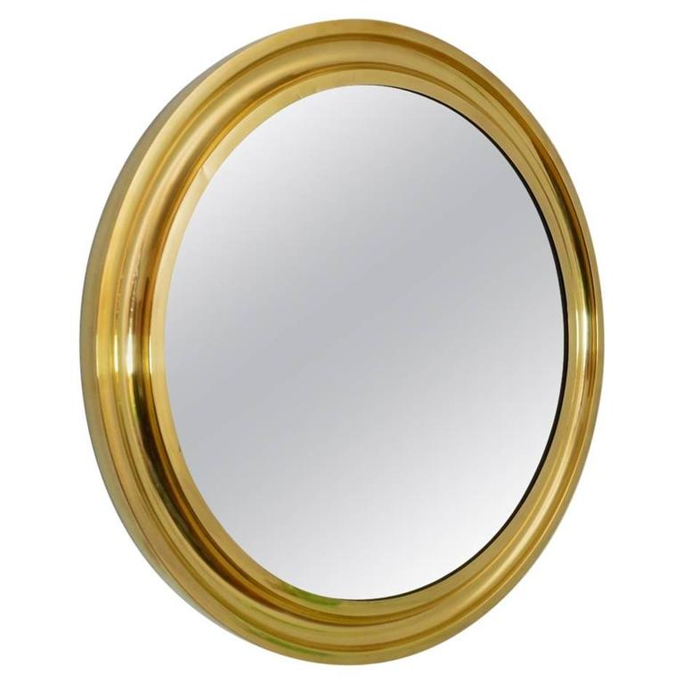 1970s Regency Italian Brass Circular Wall Mirror