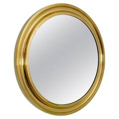 1970s Regency Italian Brass Circular Wall Mirror