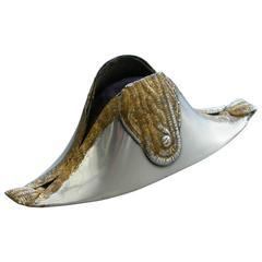 Edwardian Silver Bicorn or Cocked Hat Pin Cushion