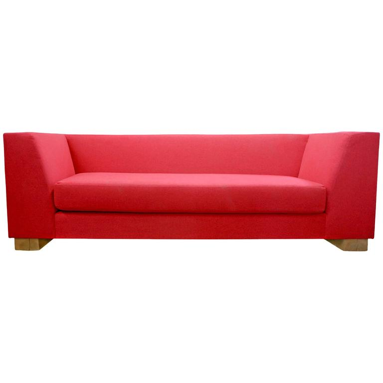 SHIMNA Delaware Sofa in Red Maharam Wool Upholstery For Sale