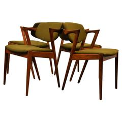 Kai Kristiansen Model 42 Teak Dining Chairs, Set of Four