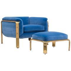 Rare Widdicomb Brass Framed Armchair and Footstool, 1970s
