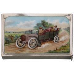 Edwardian Antique Silver and Enamel Vintage Car Vesta Case