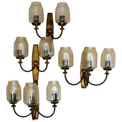 Set of Three Large Art Deco Wall Sconces Brass, 1940s