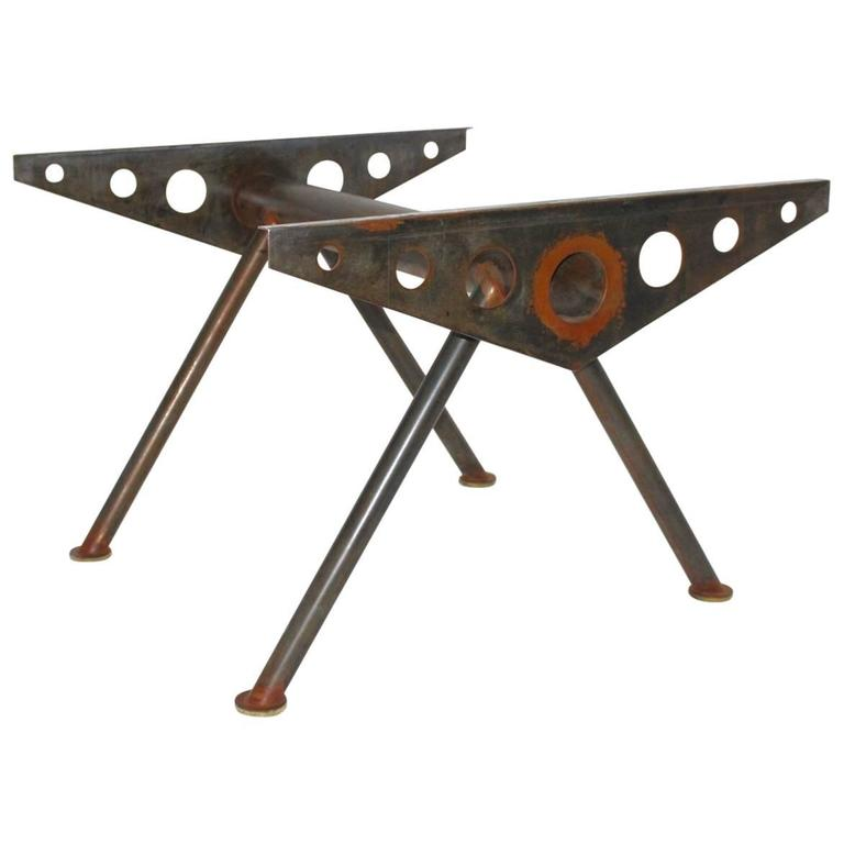 Industry Style Steel Table in the Style of Jean Prouve, circa 1980 For Sale
