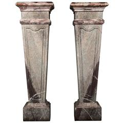 Pair of Marble Column Pedestals with Green and Purple Marble Inlay, 19th Century