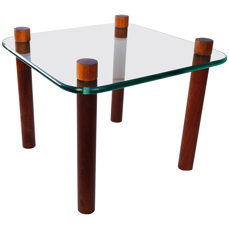 Mid-Century Cocktail Side End Glass Table Attributed to Fabio Lenci