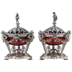 Decorative Pair of Silver Plate and Ruby-Glass Rose-Bowls and Coverers