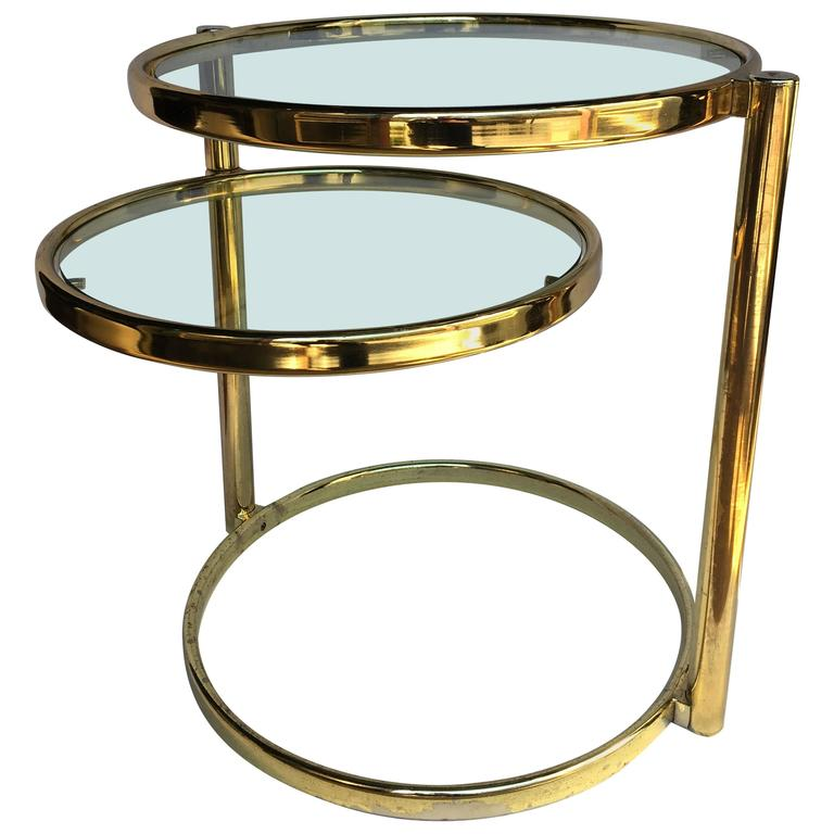 Merveilleux Milo Baughman Style Articulating Brass Side Table For Sale