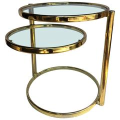 Milo Baughman Style Articulating Brass Side Table