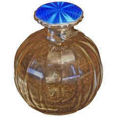 Art Deco English Sterling Silver and Guilloche Enamel Scent Bottle