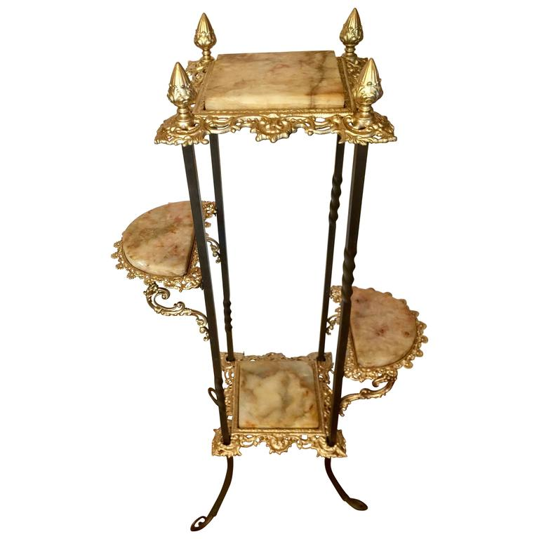 Early 20th Century Victorian Four Tier Plant Stand Brass