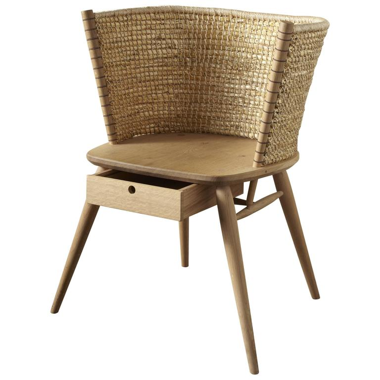Handwoven Straw and British Oak Orkney Style Brodgar Chair by Gareth Neal