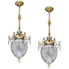 Pair of Gilt Lacquered and Cut-Glass Acorn Lanterns by F&C Osler