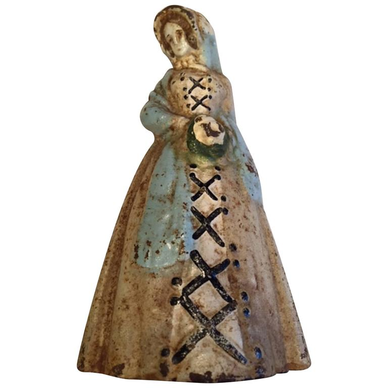 Early 20th Century Antique Cast Iron Doorstop Woman